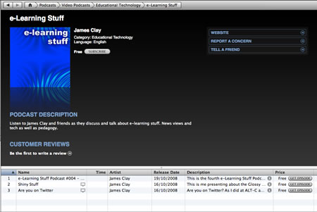 Subscribe to the e-Learning Stuff podcast in iTunes